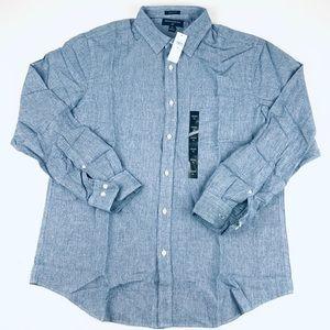 Banana republic men's button shirt linen blue XL